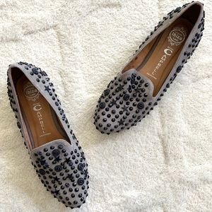 Jeffrey Campbell Elegant Stud Taupe Suede Loafers